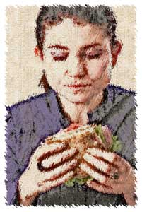sketch of a woman eating a sandwich diet planner