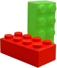 Lego blocks in green and red