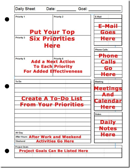 Printable Daily Planner | The Top-Six Strategy for Success