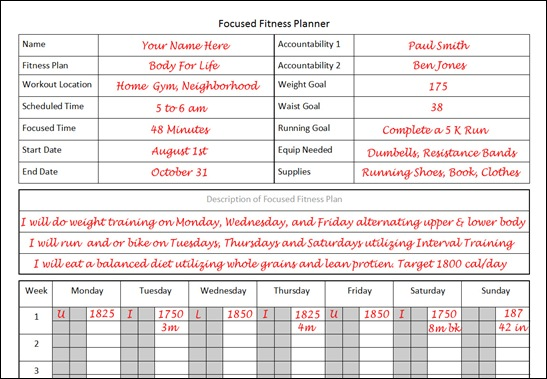 Fitness planner the planner i used to lose 26 pounds in 12 weeks fitness planner template for focused fitness maxwellsz