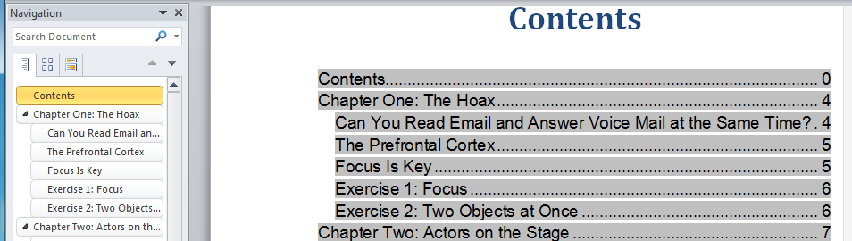 how to create headings in word for navigation