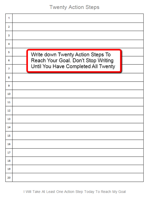 goal sheet archives personal success today twenty action steps pic the secret to setting goals