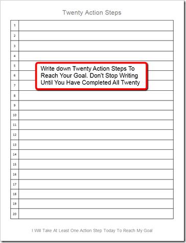 twenty-action-steps-pic the secret to setting goals