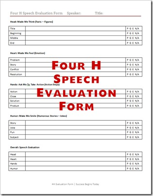 Speech Evaluation Forms  Give Positive Feedback To Your