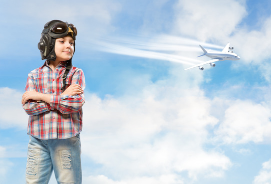 boy dreams of being a pilot