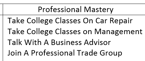 10 year goals: professional-mastery