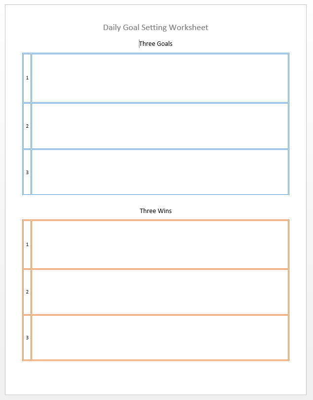 Threedailygoals Fire Up Today. Worksheet. Daily Goals Worksheet At Mspartners.co