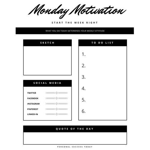 monday motivation worksheet plan your week with a positive twist. Black Bedroom Furniture Sets. Home Design Ideas