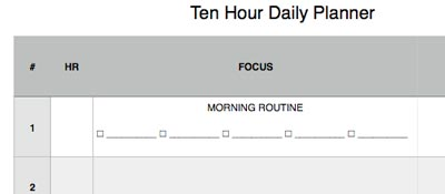 ten hour daily planner w morning routine