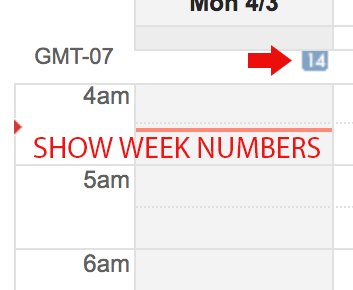 google calendar week numbers