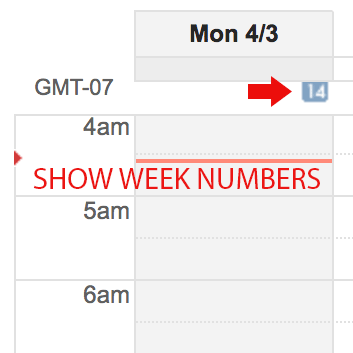 google calendar week numbers